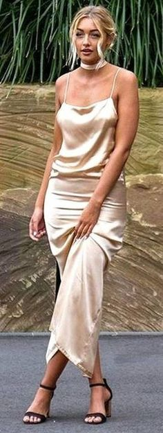 Sammy Robinson in Backless Slip Gown                                                                             Source