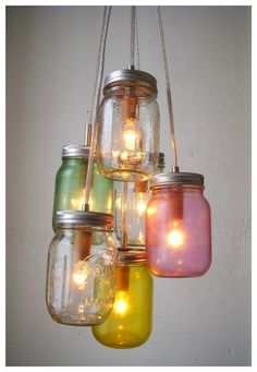 Shed some light in your favorite room with this unique mason jar chandelier.