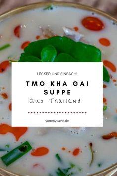 Möchtest du thailändisch kochen und mit einem einfachen Rezept anfangen? Tom Kha Gai ist eine Kokossuppe die mit Hähnchen, Garnelen oder auch vegetarisch zubereitet werden kann. Dieses Rezept ist kinderleicht und schnell! Kokosmilch | Hähnchen | Suppen Rezept | Einfaches Rezept | Schnelles Rezept | Thai Küche | Thai Essen | Essen Rezepte | Abendessen | herzhaft | Mittagessen