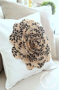 USING BURLAP IN DECOR- burlap-flower-pillow-stonegableblog.com