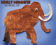 Woolly Mammoth Printable Craft | LearnCreateLove.com