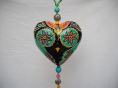 Boho Owl handpainted paper mache hearts by BoHoExpressions on Etsy, $25.00