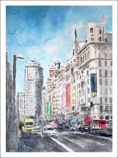 Times Square, Street View, City, Illustration, Sketch, Painting, Travel, Water Colors, Paintings