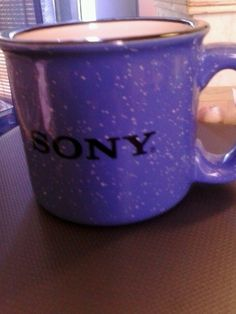 Sony Brand Blue Spattered Black Trimmed Heavy Duty Coffee Mug Tea Cup Soup Cup