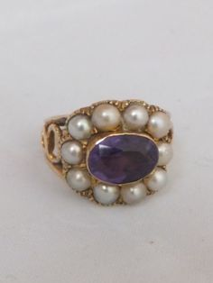 Stunning Georgian Amethyst and seed Pearl gold cluster ring