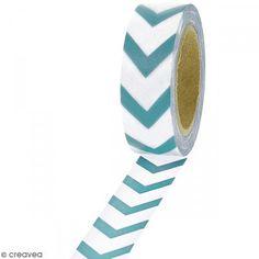 Masking tape Chevrons bleus sur fond blanc - 1,5 cm x 10 m - Photo n°1