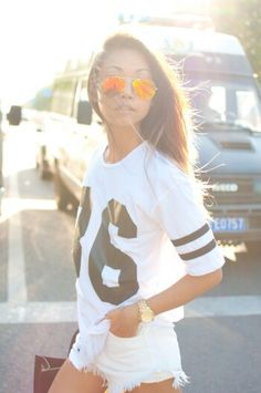 Street style with baseball inspired tshirt x