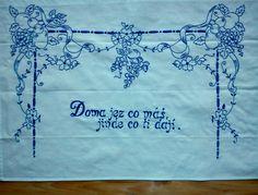 vyšívaná kuchařka Ručně vyšívané bavlněné bílé plátno, rozměr cca 80x60 cm. Možnost po domluvě zhotovit v jiné barvě vyšívky, případně i plátna s dodáním nejpozději do tří týdnů. Sketch 4, Embroidery Patterns, European Countries, Czech Republic, Lace, Folk, Madeira, Hand Embroidery, Hands