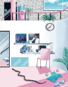 80s Girl room Yoko Honda Michael Jackson poster pink pastel Miami Vice