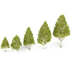 VORCOOL 5pcs Novelty Mini Decor White Poplar Model Trees (Light Green Leaves) -- Want additional info? Click on the image.