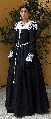 Starlight Masquerade Glamorous Handmade Costumes 16th Century Venetian Noble gown, made of black damask and trimmed with lace ruffs and pearls.