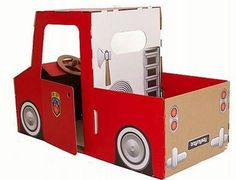 Smart cardboard toys for boys and girls by Trzymyszy. Cardboard Airplane, Cardboard Car, Cardboard Crafts, Projects For Kids, Crafts For Kids, Fireman Birthday, Building For Kids, Diy Arts And Crafts, Fire Trucks