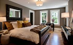 Master bedroom. I like the colour scheme here, front he floor to the ceiling and everything in between