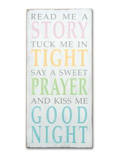 Read Me A Story Tuck Me In Tight Say A Sweet Prayer and Kiss Me Good Night Barn Owl Primitives Hand Painted Sign #nursery #baby #wallart