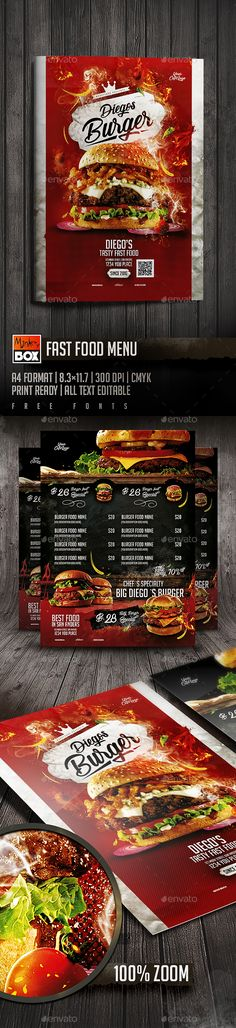 Fast Food Menu Template PSD Burger Bar, Burger Menu, Menu Restaurant, Restaurant Design, Restaurant Identity, Food Menu Template, Flyer Template, Food Menu Design, Flyer Design