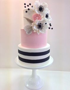 Fondant Wedding Cake with Sugar Flowers Pink Black and White Wedding Cake Frost…