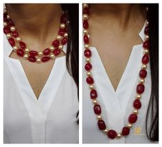 @diamantinafinejewels. A Versatile Ruby Bead & Champagne Pearl Lariat Necklace ❤ #luxury #pearl #ruby #necklace