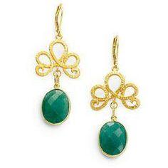 Green Onyx Swirl Drop Earrings. #ColorOfTheYear