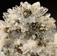 Chalcopyrite, Quartz and Calcite - from Baia Sprie, Maramures Co., Romania