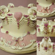 """New"" ""Romance from the Heart"" by Kathleen Lange - The Lange Style of English Lambeth Method Cake Decorating. Rolled fondant & royal icing all hand made, no molds used. Sept 2015"