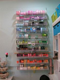 Peg Board wall and ribbon storage racks in Scrapbook Room - love how the pegboard matches the wall color so it blends in! Ribbon Organization, Ribbon Storage, Craft Organization, Organizing Ideas, Household Organization, Organising, Peg Board Walls, Diy Peg Board, Peg Boards