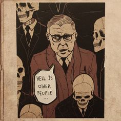 Sartre Hell is other people 1.4 Soft Enamel by milestogoclothing