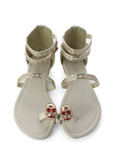 6f79e65afd3bf  Chicwish Ivory Skulls Flat Sandals - Goods - Retro
