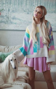 The Wildfox White Label Barbie Dreamhouse 80's Blocks Chunky Oversized Sweater
