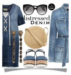 """Vacation Denim Dress"" by skad183 on Polyvore featuring Samuji, Current/Elliott, Alexander McQueen, Yves Saint Laurent and Gucci"
