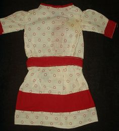 The Gatherings Antique Vintage - Early 1900s Edwardian Red Dot Calico Doll Dress With Red Trimming, $68.50 (http://store.the-gatherings-antique-vintage.net/early-1900s-edwardian-red-dot-calico-doll-dress-with-red-trimming/)