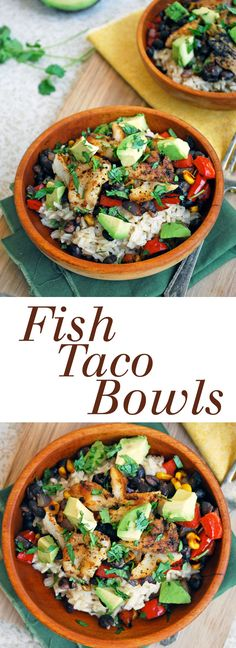 Fish Taco Bowls - A quick and healthy dinner option featuring rice, veggies, and fish. Full recipe at theliveinkitchen.com @liveinkitchen