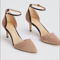 """💎H O S T  P I C K 1/27/16💎Ann Taylor Heels NWOT! This must-wear suede pair flaunts a sleek ankle strap for a traffic stopping statement. Pointy toe. Adjustable buckle at side ankle for secure fit. Padded footbed for complete comfort. Covered 2 1/2"""" heel. Ann Taylor Shoes Heels"""