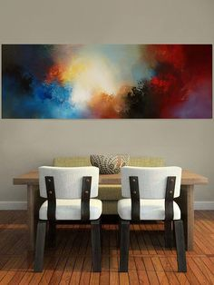 Contemporary Painting Blue Brown Painting Large Painting