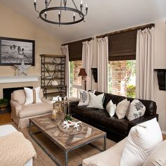 premium dark leather sofa with white throw pillows cream chair slipcovers white side chair industrial coffee table industrial display cabinets rustic style ... & how to decorate around the black leather couch | For the Home ... pillowsntoast.com