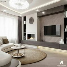 34 Excellent Contemporary Living Room Decor Idea Try for You - Living Room Design Home Fireplace, Living Room With Fireplace, Off Center Fireplace, Bedroom Fireplace, Living Room Tv, Living Room Interior, Neutral Living Rooms, Living Room Modern, Design Case