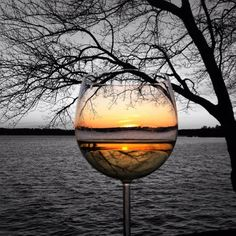 *The beauty of a sunset in a glass of wine.