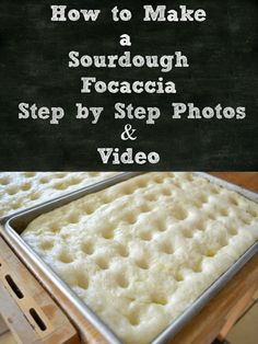 How to Make Sourdough Focaccia - Flour On My Face - How to make Sourdough Focaccia, step by step photos, how to knead sourdough focaccia, kneading bread dough Naan, Sourdough Focaccia Recipe, Sourdough Biscuits, Bread Recipes, Cooking Recipes, Starter Recipes, Sourdough Recipes Starter, Ramen Recipes, Cod Recipes