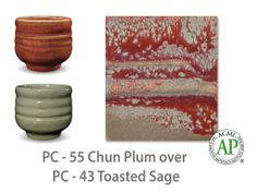 AMACO Potter's Choice layered glazes PC-43 Toasted Sage and PC-55 Chun Plum.