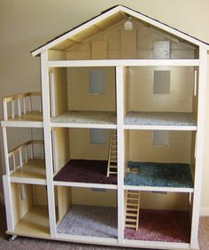 DIY doll house for Barbie - very inexpensive to make (link to tutorial) Roy Sarniak I know a certain little niece would love this in the fu. - DIY of Nerdiness - Doll House Barbie Doll House, Barbie Dolls, Barbie Clothes, Barbie Kids, Pink Barbie, Barbie Furniture, Dollhouse Furniture, Doll House Plans, Diy Dollhouse