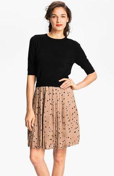 Taylor Dresses Polka Dot Skirt Sweater Dress