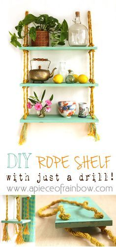 DIY Rope Shelf - All I need is a Drill? Easy to build and hang, this beautiful gold and turquoise DIY rope shelf is also collapsible!