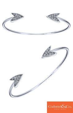 This gorgeous 925 Silver White Sapphire Cuff Bangle by Gabriel & Co. is so cute and unique! We love the White Sapphire stones in the designs that look like arrows. This piece is perfect for the upcoming winter holidays and parties!