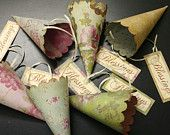 Wedding Favor Cones, Petal Toss Cones, Candy and Treat Cones, Assorted, French Shabby Chic Style, Madeline Paper Collection