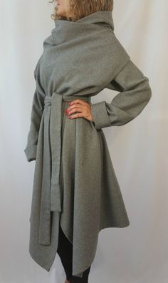 Grey Long Wool Coat Winter Cape Coat Cashmere Poncho coat Long Sleeve trench…