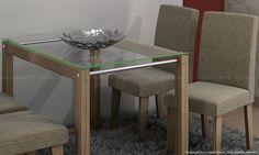 Conjunto para Sala de Jantar com Mesa com tampo de vidro e 4 Cadeiras Nogueira/Linhão Musgo - Cimol   Lojas KD