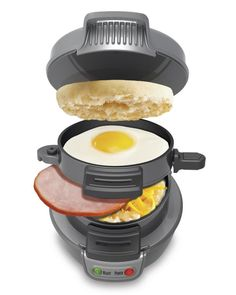 My family is going to LOVE this! The Hamilton Beach 25475 Breakfast Sandwich Maker cooks popular favorites like egg, ham, and cheese English muffin sandwiches. The kitchen gadget features a sliding mechanism for automatic construction. Available March 2013 at $29.99...AWESOME! @TitaniumTwister