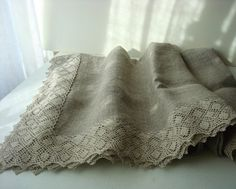Burlap LINEN table CLOTH with linen lace by LinenWoolRainbow
