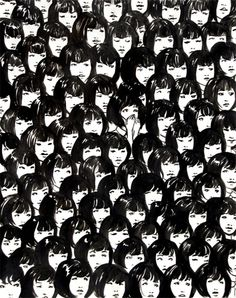 Ninety One Good Chinese Girls by Jennifer Hom  Inspired by a photo the artist saw of a swarm of singing, uniform, asian girls.