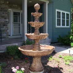 Visit Serenity Health's variety of best-selling outdoor fountains, including tiered water fountains, outdoor waterfalls and more. Water Fountain Design, Patio Fountain, Garden Water Fountains, Fountain Ideas, Fountain House, Outdoor Water Features, Pond Water Features, Garden Features, Large Outdoor Fountains