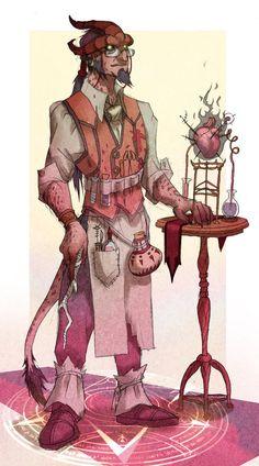 m Tiefling merchant arcanist alchemist http://pre01.deviantart.net/1a3b/th/pre/i/2015/110/3/d/zachariah___npc_tiefling_alchemist_by_mrjamesgifford-d6l7t1c.jpg